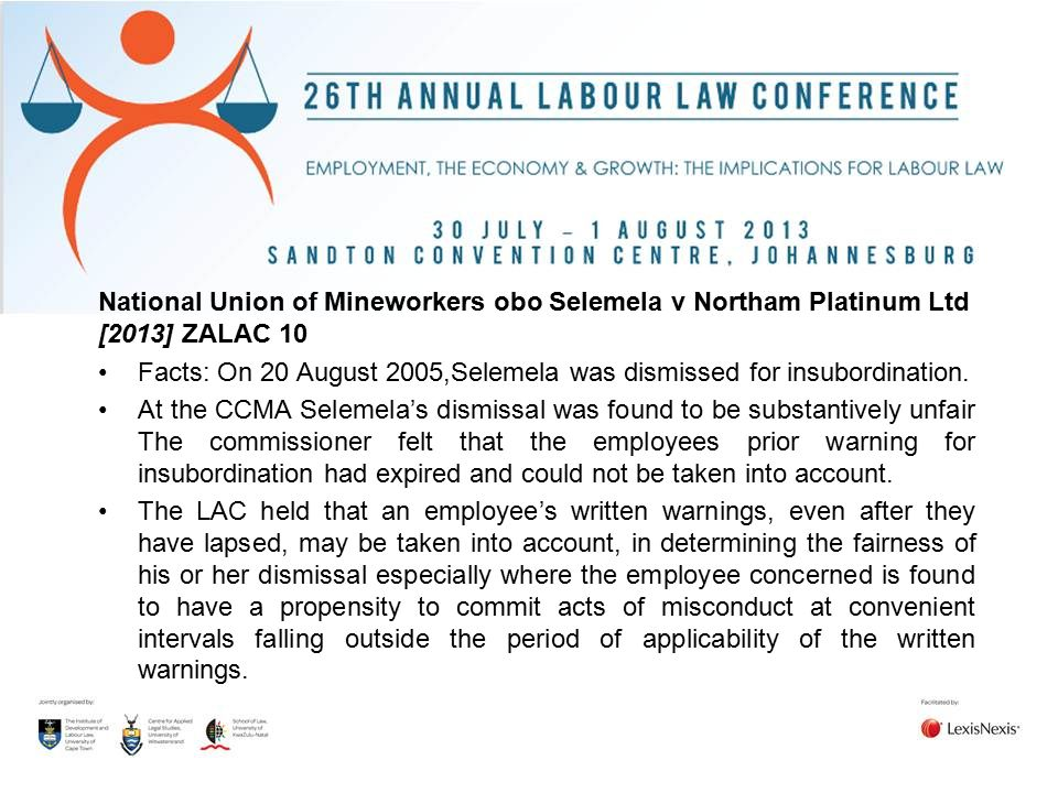 National Union of Mineworkers obo Selemela v Northam Platinum Ltd [2013] ZALAC 10